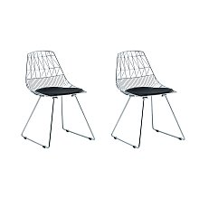 Industrial Set of 2 Dining Chairs Metal Silver