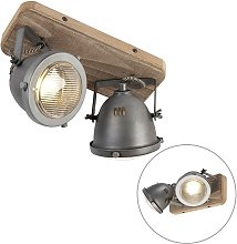 Industrial spot steel with wood tiltable 2-light -