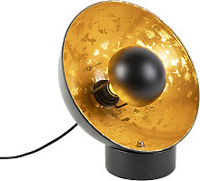 Industrial table lamp black with golden interior -