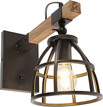Industrial wall lamp black with wood adjustable -