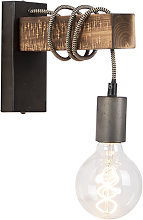 Industrial wall lamp black with wood - Gallow