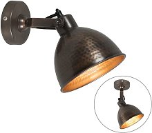 Industrial wall lamp copper with brass adjustable
