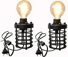Industrial Wind Table Lamp, Dual-Use Wrought Iron