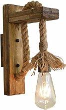 Industrial Wood Iron Hemp Rope Wall Lamp Creative