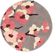 Infinite Blossom Charcoal Pink Floral Circle 135cm