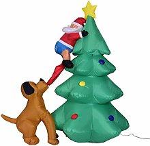 Inflatable Dog Bites Santa Claus Climbing Tree |