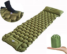 Inflatable sleeping mat with removable camping lights, self-inflating waterproof camping air mattress with pillow, ultra-light portable sleeping mat for travel, hiking, backpacking