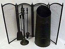 Inglenook, Black Fireside Set Guard, Bucket &