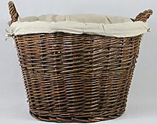 Inglenook ROUND WICKER Log Basket With REMOVABLE
