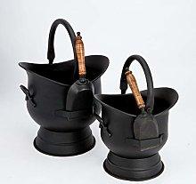 Inglenook Set of 2 Traditional Black Coal Buckets