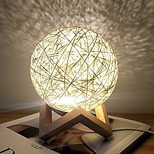 INJUICY LED Table Light, Rattan Ball Desk Lamp,