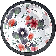 Ink Flowers with Skulls-01 Kitchen Drawer Pulls