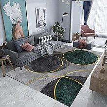 Ink green circle Area rug modern style rug Soft