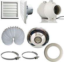Inline Bathroom Loft Extractor Fan Kit with LED