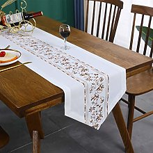 Inmerget Brown Floral Embroidery White Table