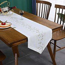 Inmerget Green Floral Embroidery White Long Table