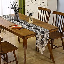 Inmerget Lace Short Black Table Runner Embroidered