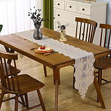 Inmerget Lace Table Runner Embroidered Coffee