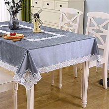 Inmerget Nordic Style Gray Velvet Tablecloth Lace