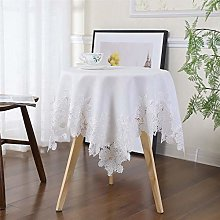 Inmerget White Cotton Linen Lace Tablecloth Flower