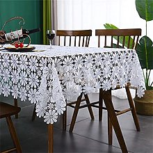 Inmerget White Lace Rectangle Tablecloth with