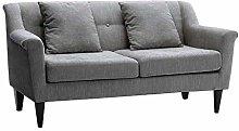INMOZATA Corner Sofa Grey Linen Fabric 2 Seater