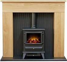 Innsbruck Stove Fireplace in Oak with Hudson