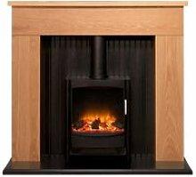 Innsbruck Stove Fireplace in Oak with Keston