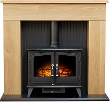 Innsbruck Stove Fireplace in Oak with Woodhouse