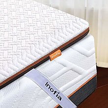 Inofia Memory Foam Mattress Topper with Cover, 6CM