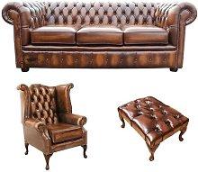 Inola Chesterfield 3 Piece Leather Sofa Set