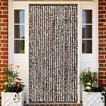 Insect Curtain Brown and White 100x220 cm Chenille