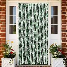 Insect Curtain Green and White 56x185 cm Chenille