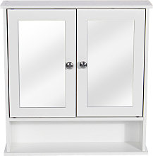 Insma - Wood & Double Wall Cabinet Medicine Cabinet With Mirror