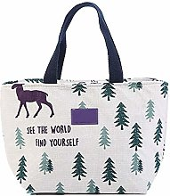 Insulated Bag Cotton Linen Lunch Bag for Women