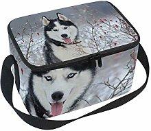 Insulated Lunch Animal Husky Dog Box Bag Tote with