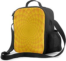 Insulated Lunch Bag Abstract Bright Orange Yellow