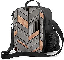 Insulated Lunch Bag Abstract Chevron Pattern