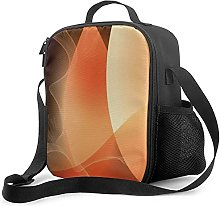 Insulated Lunch Bag Abstract Orange and Brown