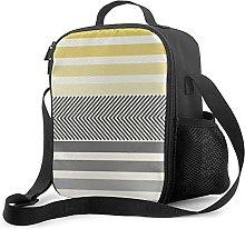 Insulated Lunch Bag Aqua Yellow Gray Reversible