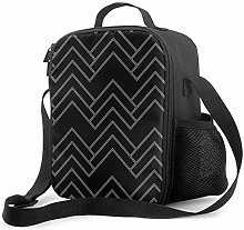 Insulated Lunch Bag Art Deco Chevron Black and
