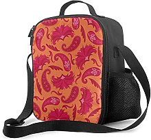 Insulated Lunch Bag Art Deco Paisley Red Orange