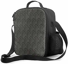 Insulated Lunch Bag Art Deco Pattern Gray Cooler