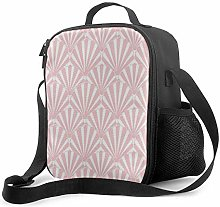 Insulated Lunch Bag Art Deco Pattern Pink Shell