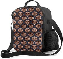Insulated Lunch Bag Art Deco Shell Pattern Copper