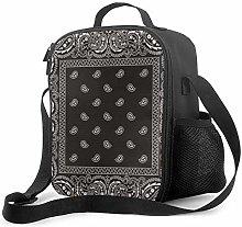 Insulated Lunch Bag Bandana Gray Southwestern