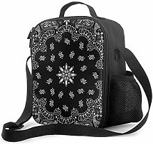 Insulated Lunch Bag Black Bandana Cooler Bag