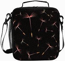 Insulated Lunch Bag Black Dark Red Dandelion
