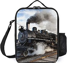 Insulated Lunch Bag Black Train Lunch Box Portable