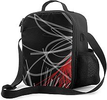 Insulated Lunch Bag Black White Gray & Red